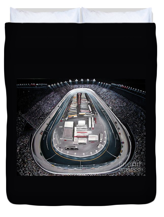 Racing Duvet Cover featuring the painting Bristol Motor Speedway Racing The Way It Ought To Be by Patricia L Davidson