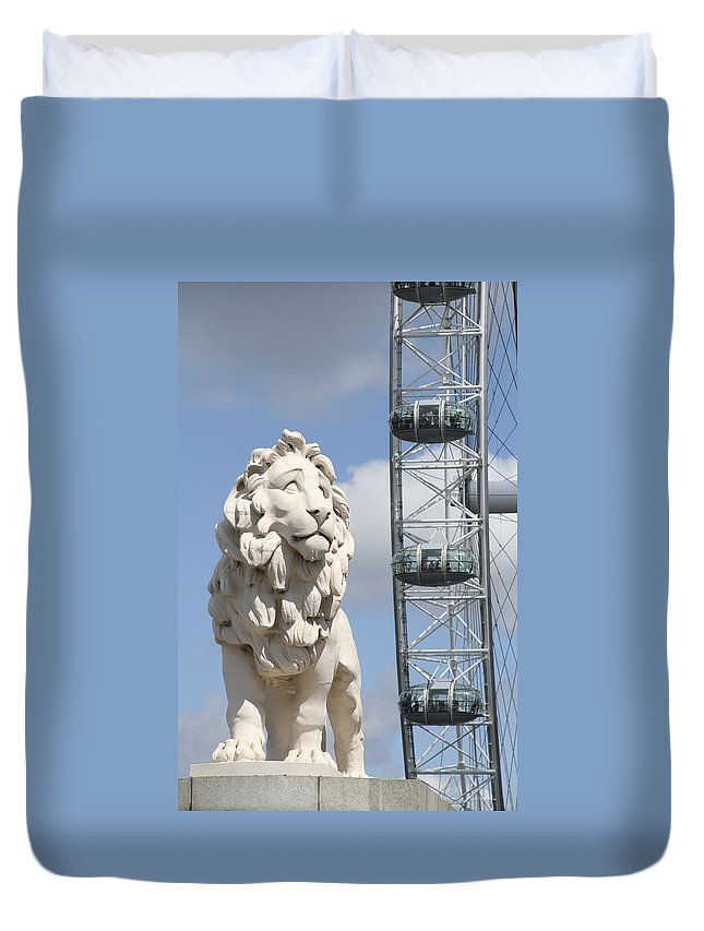 Lion Duvet Cover featuring the photograph Britannia Lion by Margie Wildblood