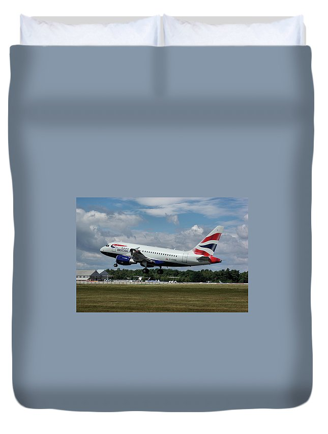 Airbus Duvet Cover featuring the photograph British Airways Airbus A318-112 G-eunb by Tim Beach
