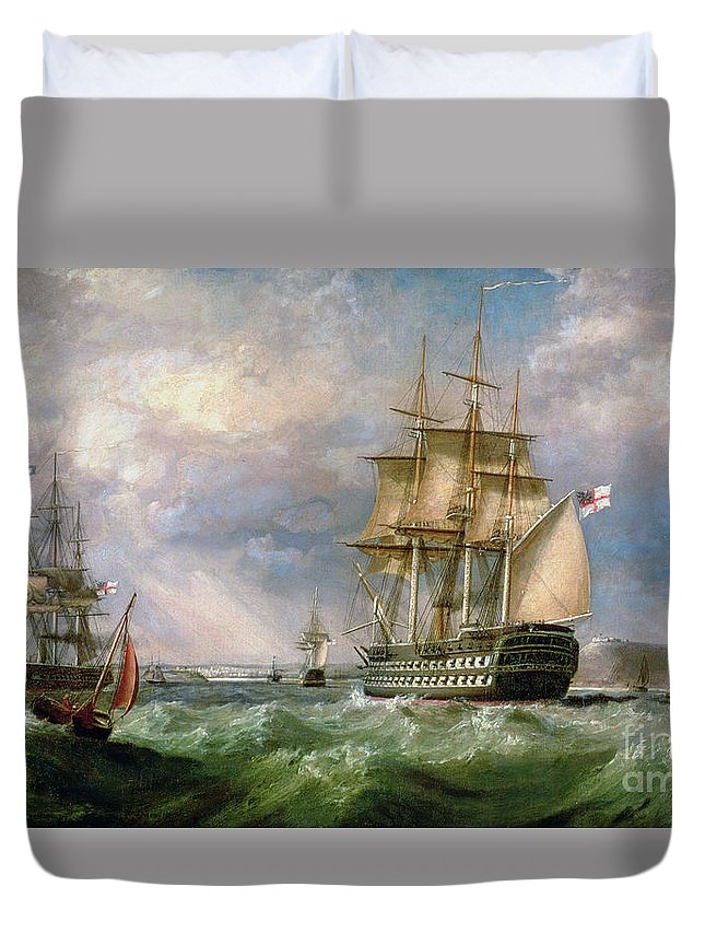 British Men-o'-war Sailing Into Cork Harbour Duvet Cover featuring the painting British Men-o'-war Sailing Into Cork Harbour by George Mounsey Wheatley Atkinson