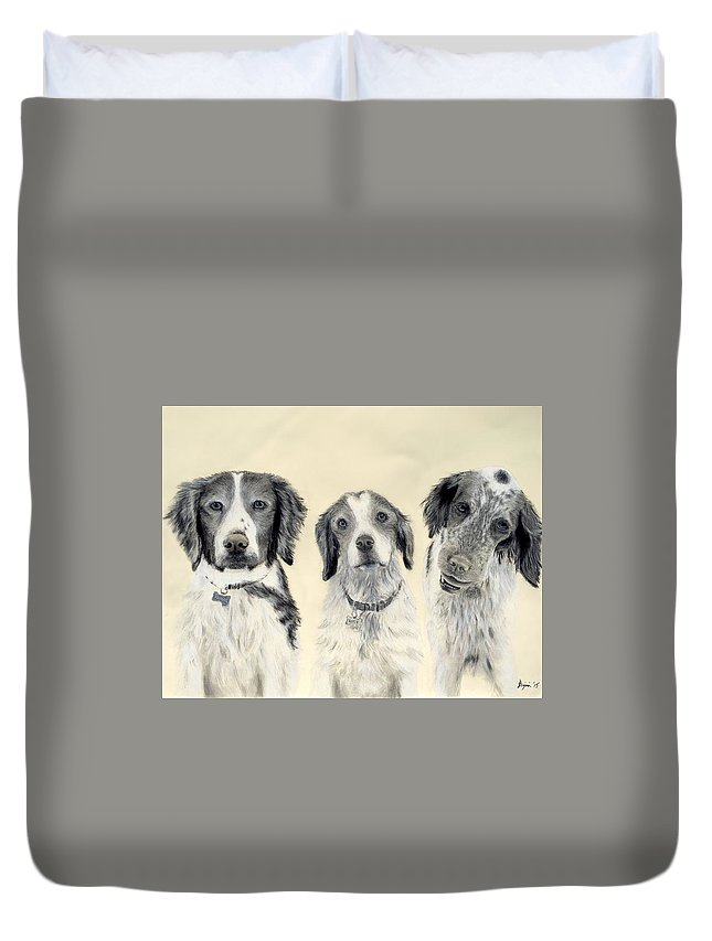 Dog Duvet Cover featuring the drawing Brittanys by Benjamin Gassmann
