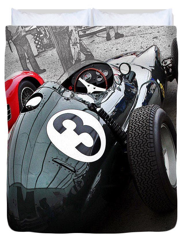 Vintage Duvet Cover featuring the photograph Brm F-1 1958 by Curt Johnson
