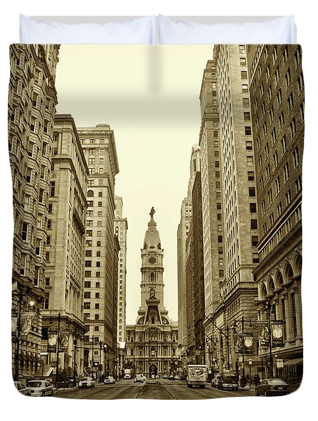 Broad Street Duvet Cover featuring the photograph Broad Street Facing Philadelphia City Hall In Sepia by Bill Cannon