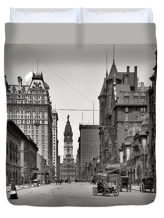 Broad Street Philadelphia 1905 Duvet Cover featuring the photograph Broad Street Philadelphia 1905 by Bill Cannon