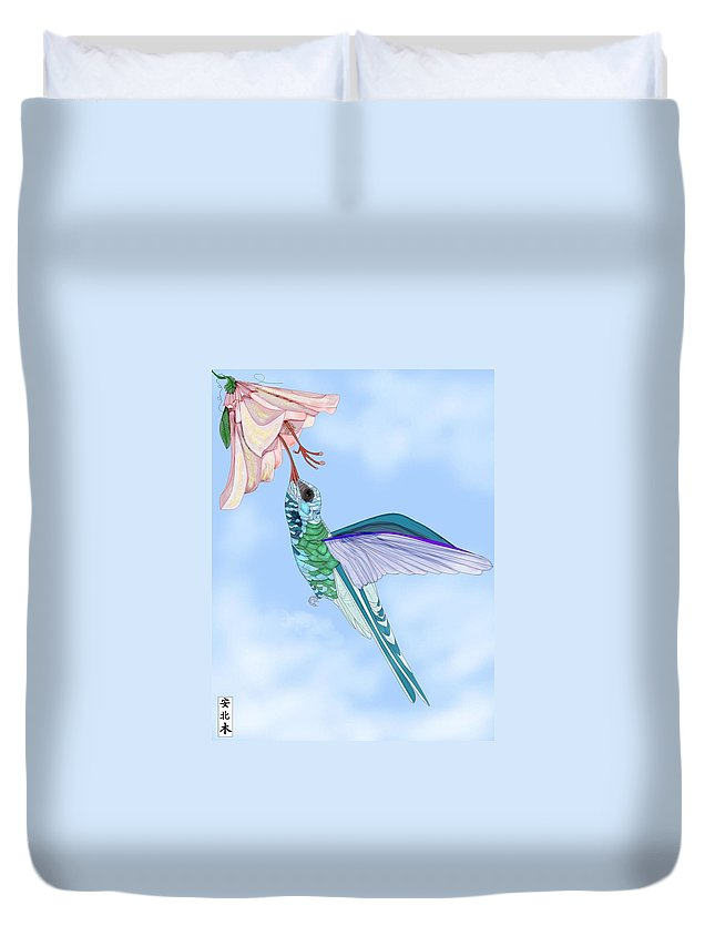 Hummingbird Duvet Cover featuring the painting Broadbilled Hummer by Anne Norskog