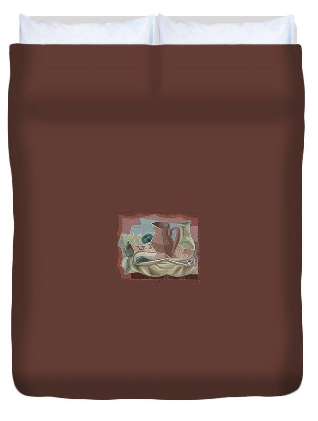 Juan Gris (1887-1927) Broc Et Carafe Duvet Cover featuring the painting Broc Et Carafe by Juan Gris
