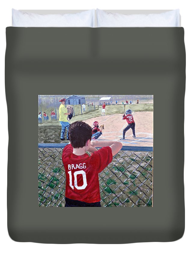 Child Duvet Cover featuring the painting Brock by Stan Hamilton
