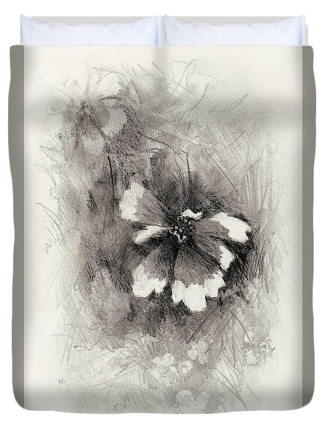 Nature Duvet Cover featuring the drawing Broken Blossom by Rachel Christine Nowicki