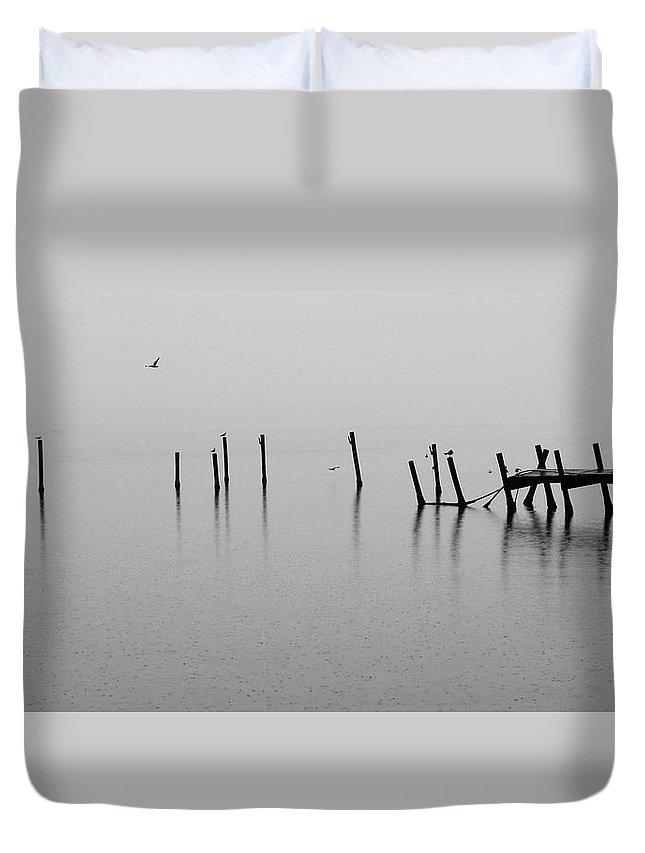 Dock Duvet Cover featuring the photograph Broken Dock In The Rain by Francesa Miller