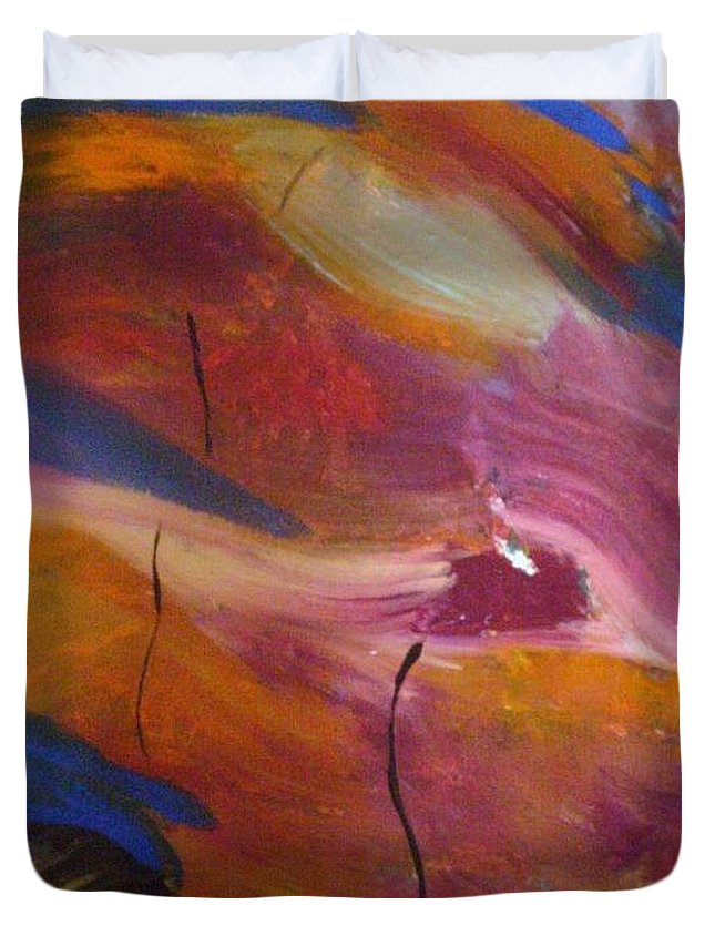 Abstract Art Duvet Cover featuring the painting Broken Heart by Kelly Turner