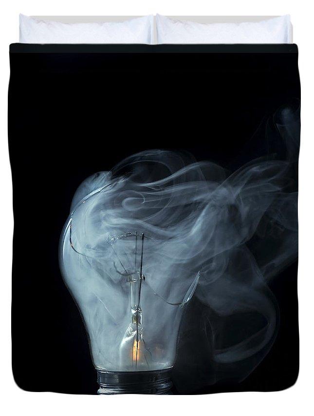 Light Duvet Cover featuring the photograph Broken Light Bulb by Michal Boubin