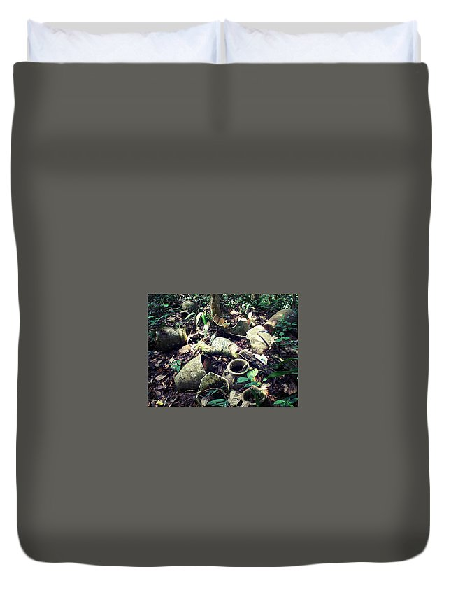 Borneo Duvet Cover featuring the photograph Broken Pots by Lloyd Southam Sebire