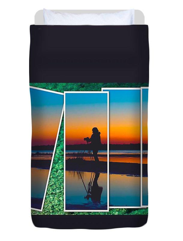 Georgian Duvet Cover featuring the photograph Broken Sunset by Les Palenik