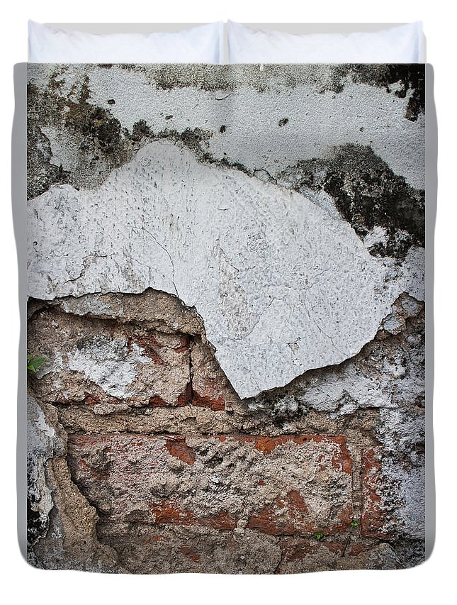 Asia Duvet Cover featuring the photograph Broken White Stucco Wall With Weathered Brick Texture by Jason Rosette