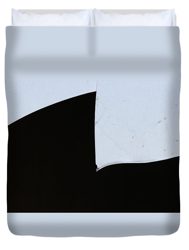 Black And White Duvet Cover featuring the photograph Broken Window Pane by Bob Duncan