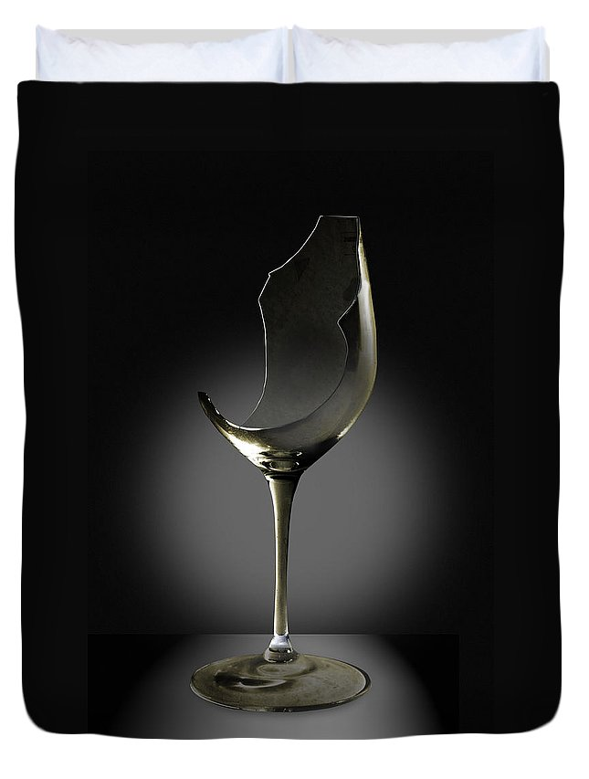 Glassware Duvet Cover featuring the photograph Broken Wine Glass by Yuri Lev