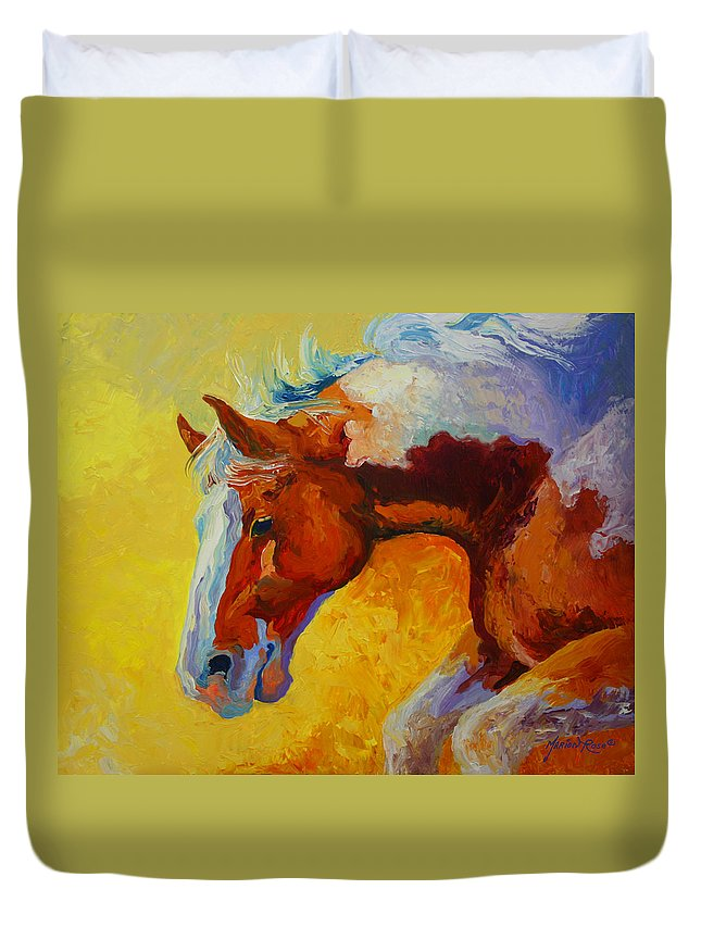 Western Duvet Cover featuring the painting Bronc I by Marion Rose