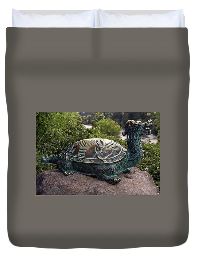 Bronze Turtle Dragon Sculpture Duvet Cover featuring the photograph Bronze Turtle Dragon Sculpture by Sally Weigand