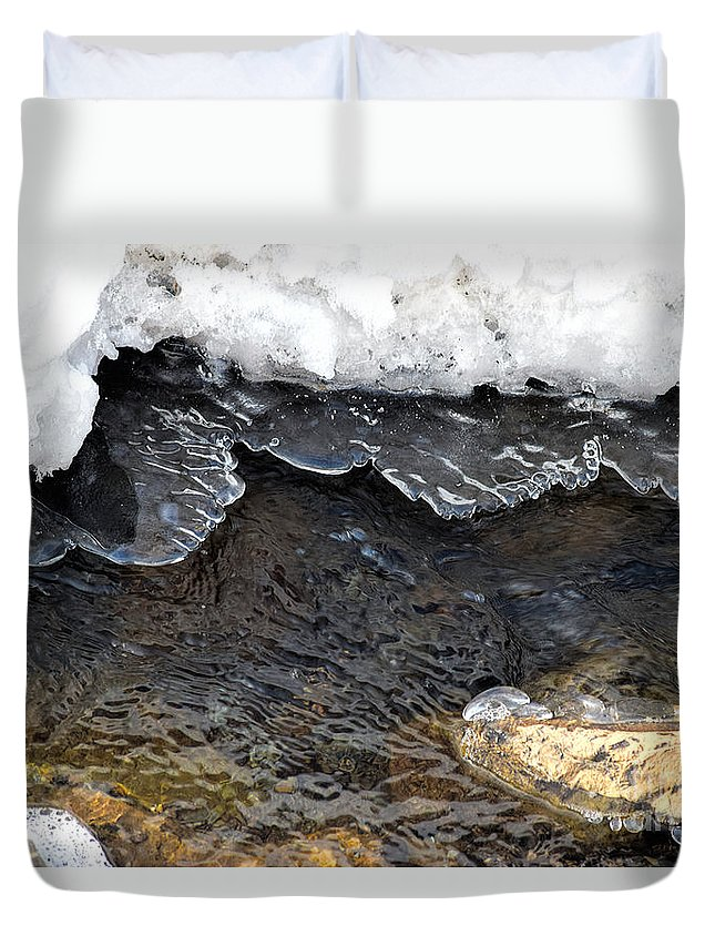 Macro Duvet Cover featuring the photograph Brook Ice Macro by William Tasker