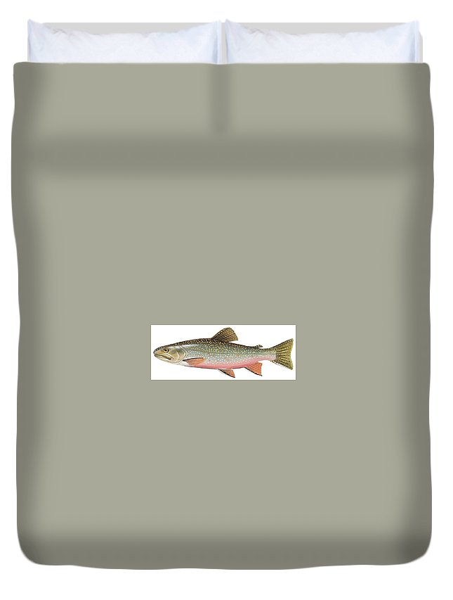 Trout Duvet Cover featuring the painting Brook Trout by American School
