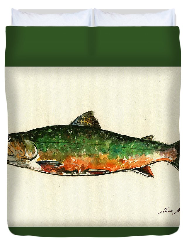 Brook Trout Duvet Cover featuring the painting Brook trout by Juan Bosco