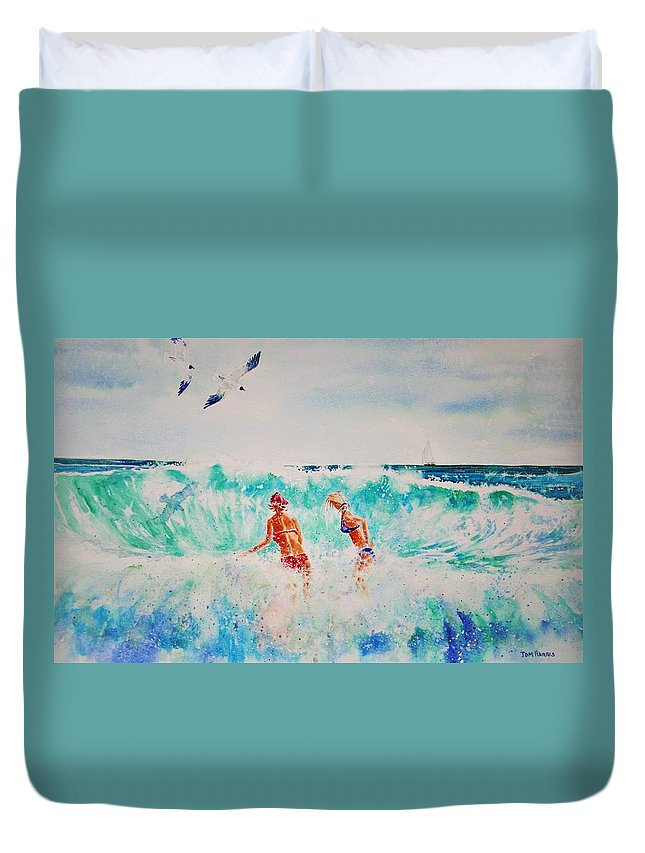 Surf Duvet Cover featuring the painting Brooke And Carey In The Shore Break by Tom Harris