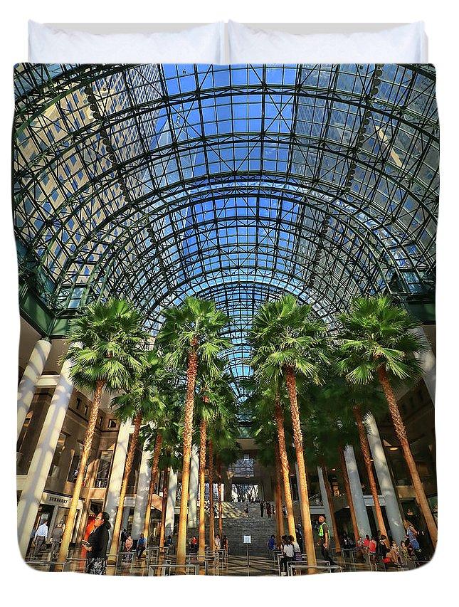 Atrium Duvet Cover featuring the photograph Brookfield Place Atrium - N Y C # 2 by Allen Beatty