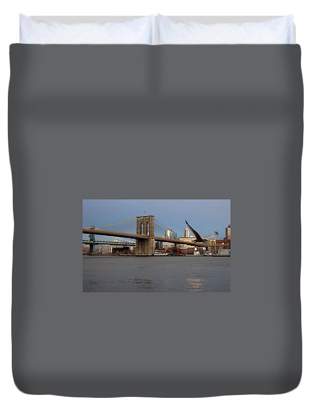 Brooklyn Bridge Duvet Cover featuring the photograph Brooklyn Bridge And Bird In Flight by Anita Burgermeister