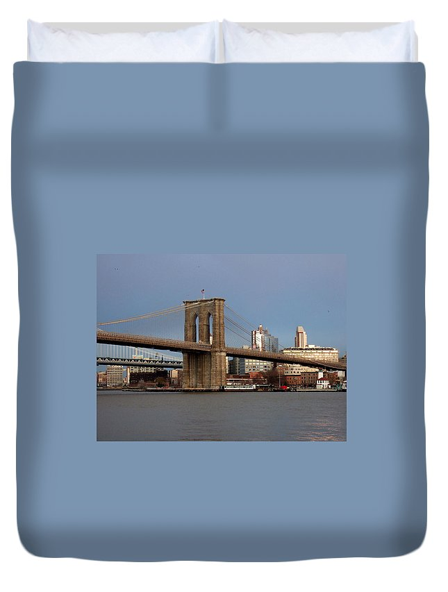 Brooklyn Bridge Duvet Cover featuring the photograph Brooklyn Bridge by Anita Burgermeister