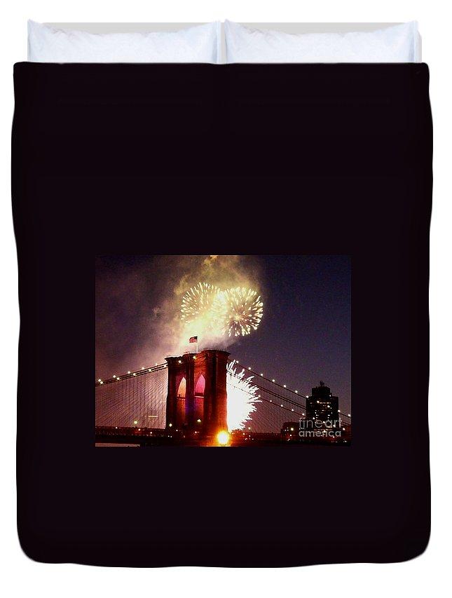 Brooklyn-bridge Duvet Cover featuring the photograph Brooklyn Bridge Celebration by Kendall Eutemey