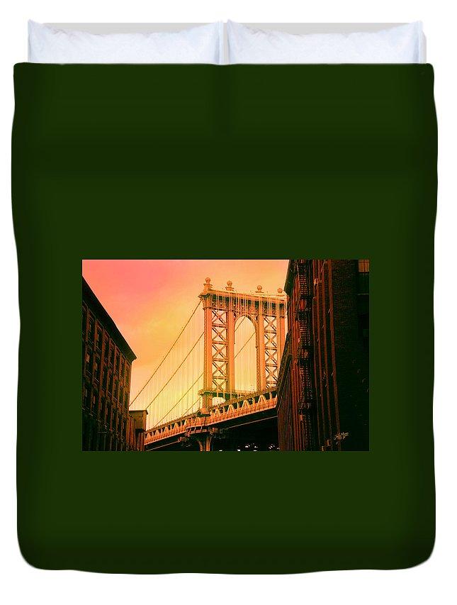 Suspension Bridge Duvet Cover featuring the digital art Brooklyn Bridge by James Mingo
