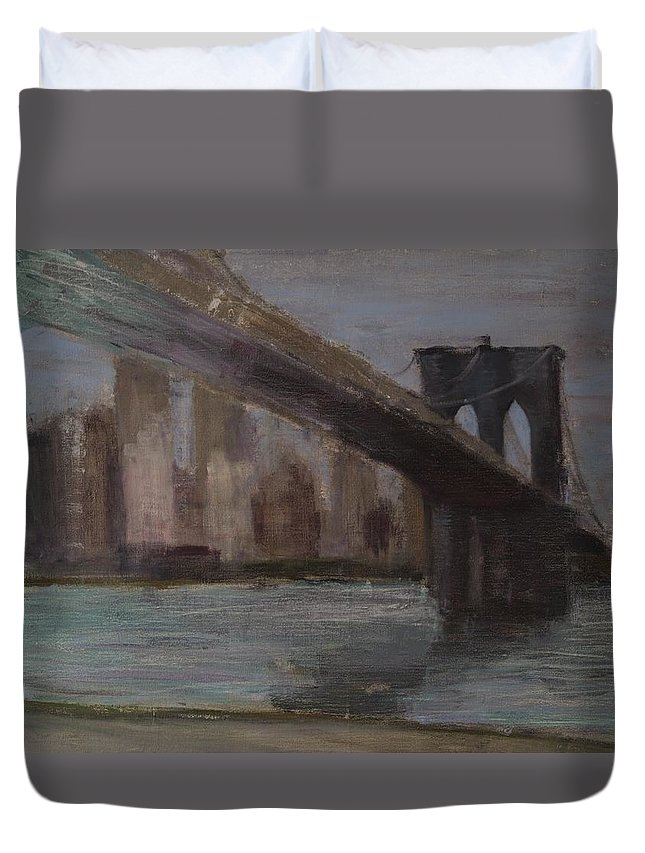 Brooklyn Bridge Duvet Cover featuring the painting Brooklyn Bridge Painting by Gail Eisenfeld