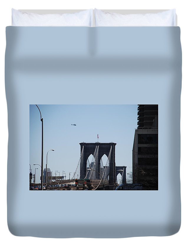 Architecture Duvet Cover featuring the photograph Brooklyn Bridge by Rob Hans