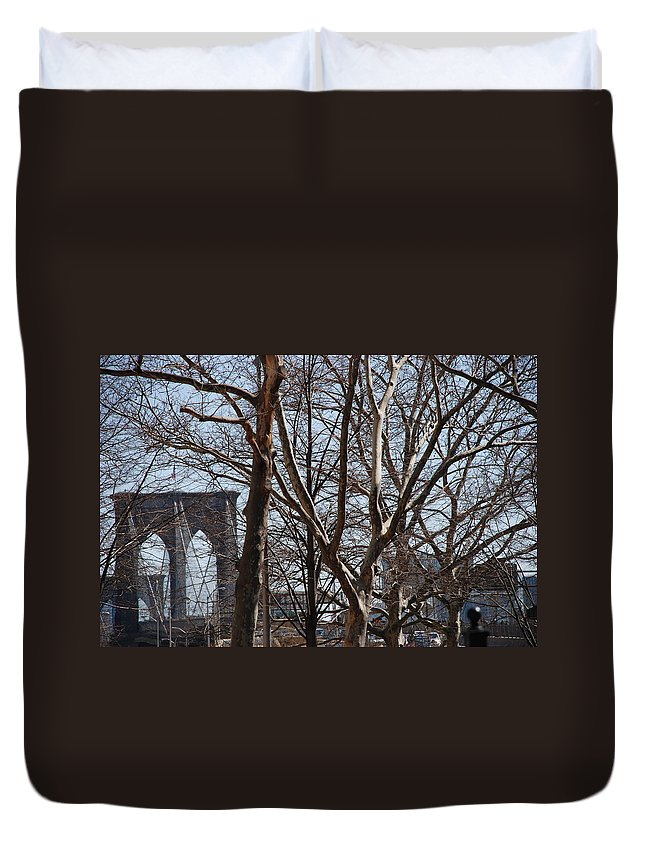 Architecture Duvet Cover featuring the photograph Brooklyn Bridge Thru The Trees by Rob Hans