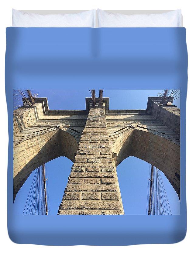 Bridge Duvet Cover featuring the photograph Brooklyn by Eric Siegel