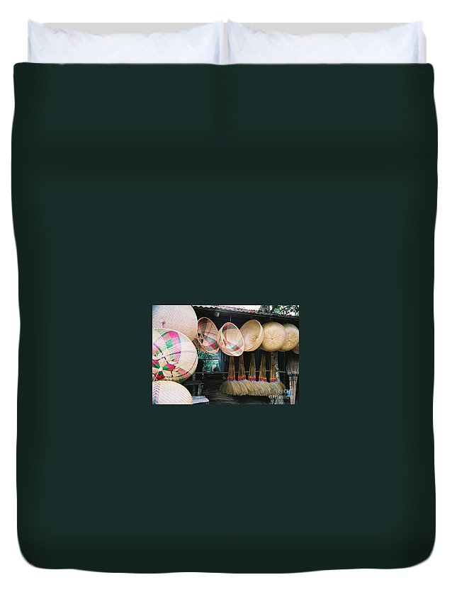 Baskets Duvet Cover featuring the photograph Brooms And Baskets by Mary Rogers