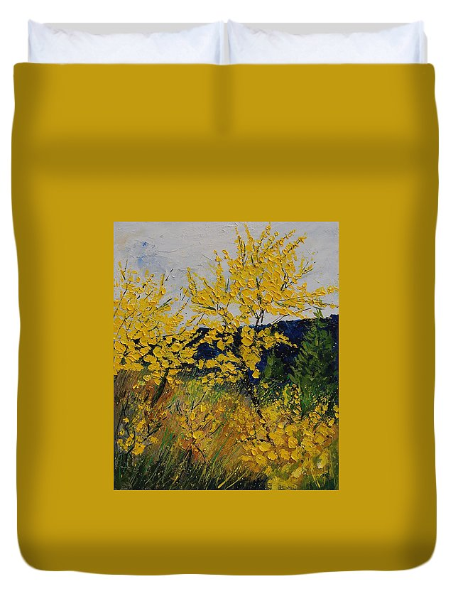 Flowers Duvet Cover featuring the painting Brooms by Pol Ledent