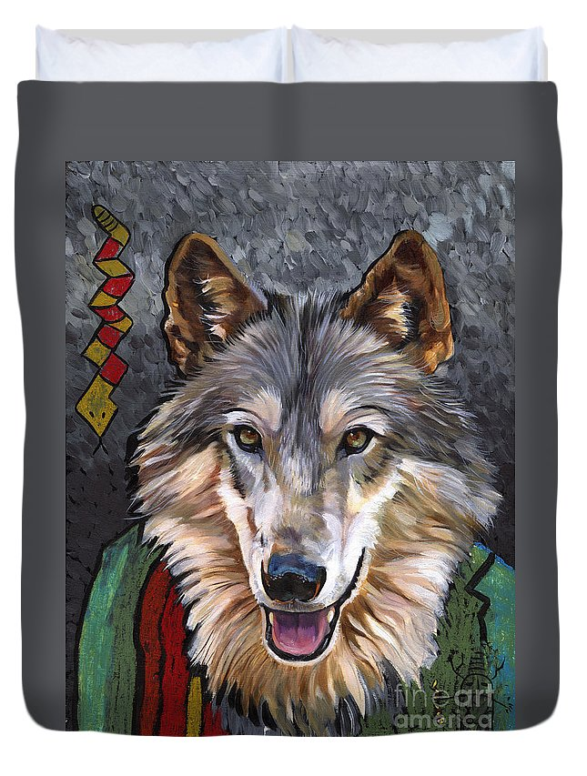 Wolf Duvet Cover featuring the painting Brother Wolf by J W Baker