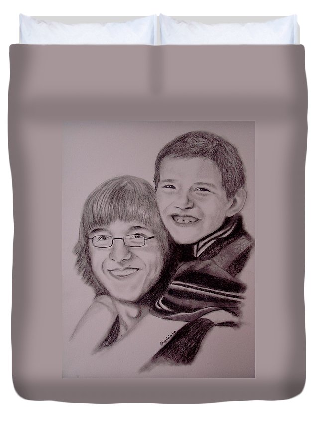 Portrait Duvet Cover featuring the drawing Brothers For Life by Glory Fraulein Wolfe