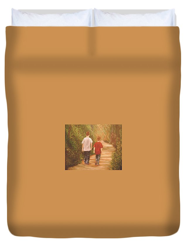Boys Duvet Cover featuring the painting Brothers Into The Woods by Jane Honn