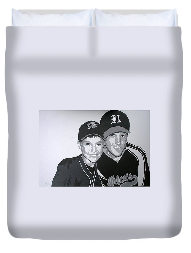 Wildcats Duvet Cover featuring the painting Brothers by Melissa Wiater Chaney