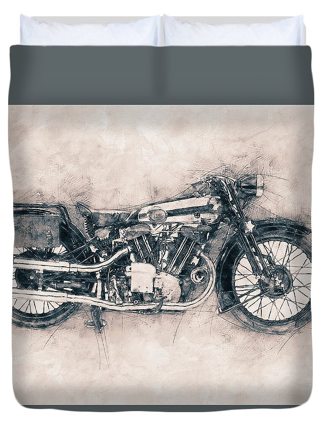 Brough Superior Ss100 Duvet Cover featuring the mixed media Brough Superior Ss100 - 1924 - Motorcycle Poster - Automotive Art by Studio Grafiikka