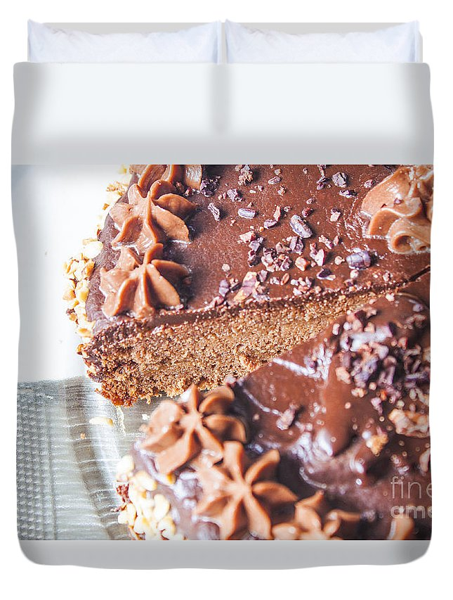 Cake Duvet Cover featuring the photograph Brown Chocolate Cake by D R