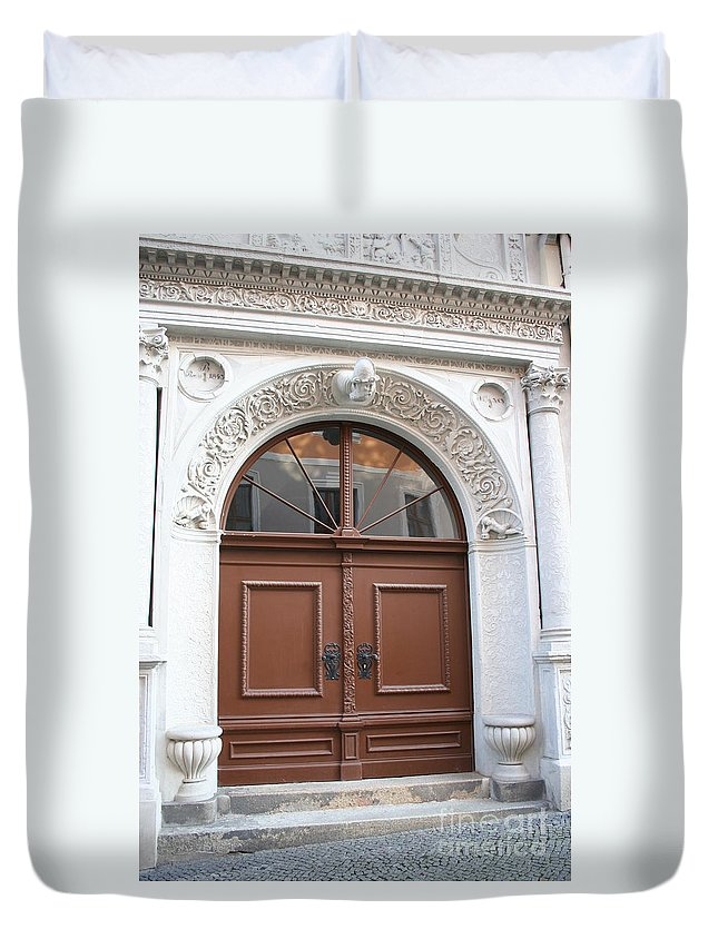 Door Duvet Cover featuring the photograph Brown Door by Christiane Schulze Art And Photography