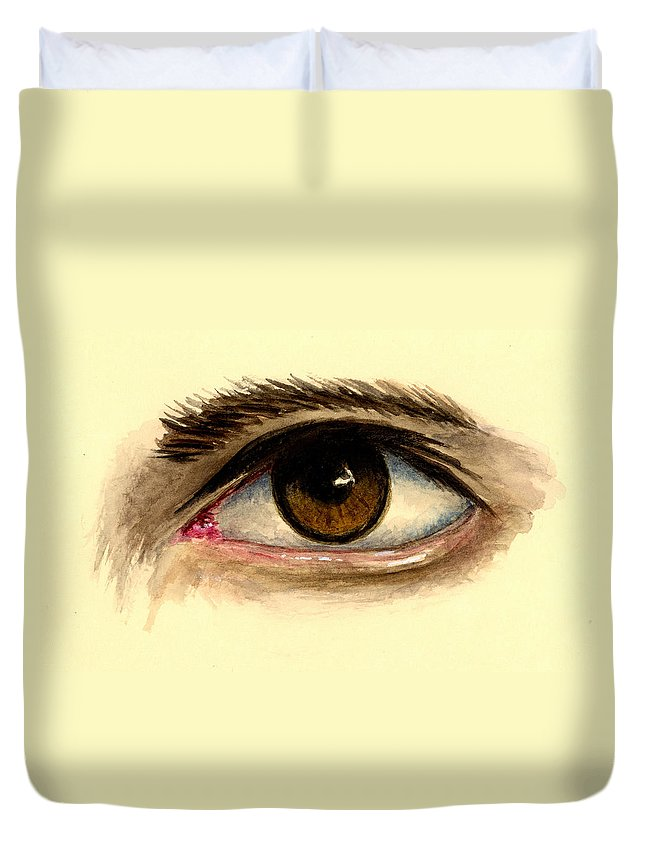 Eye Duvet Cover featuring the painting Brown Eye by Michael Vigliotti