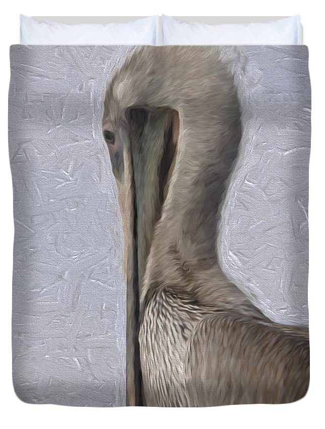 Brown Duvet Cover featuring the photograph Brown Pelican In Paint by David Kehrli