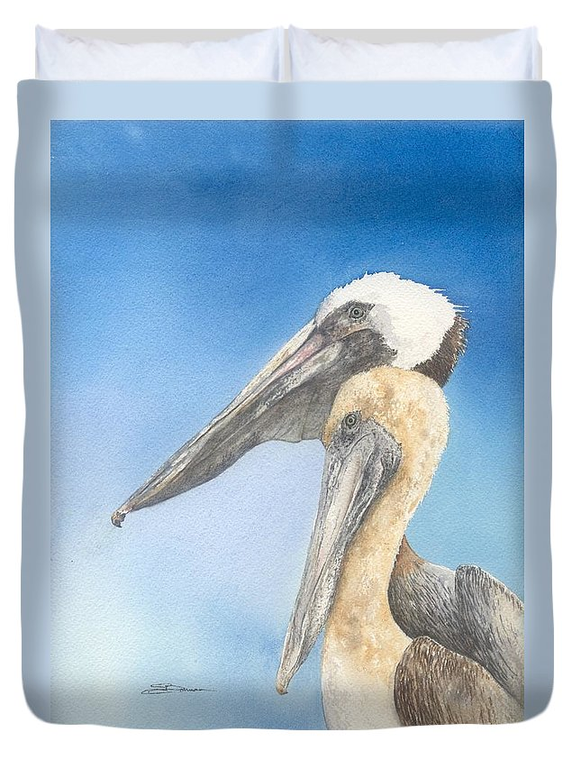Nature Duvet Cover featuring the painting Brown Pelicans by Sharon Bowman