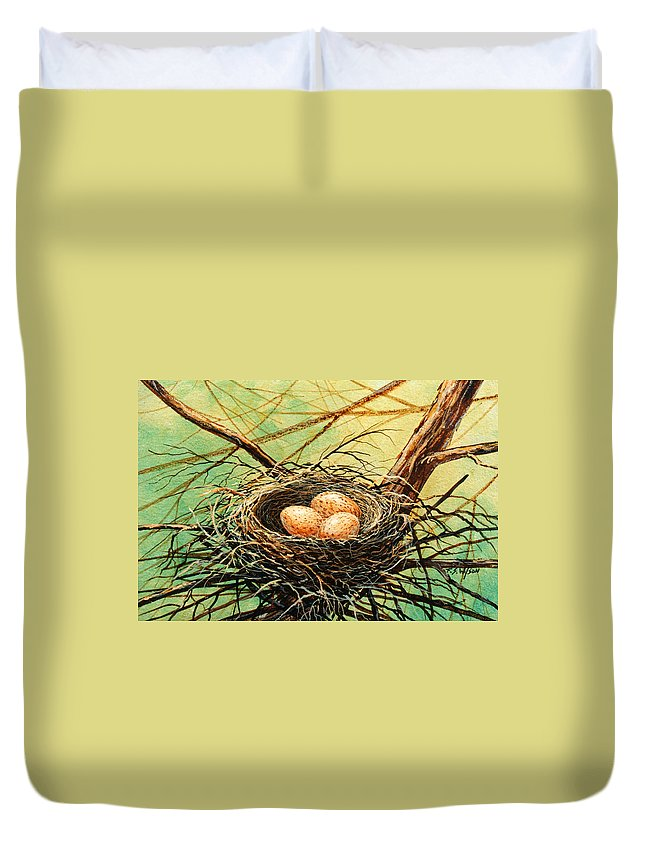 Wildlife Duvet Cover featuring the painting Brown Speckled Eggs by Frank Wilson