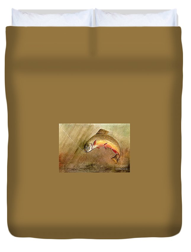 Trout Duvet Cover featuring the painting Brown Trout by Mary Tuomi