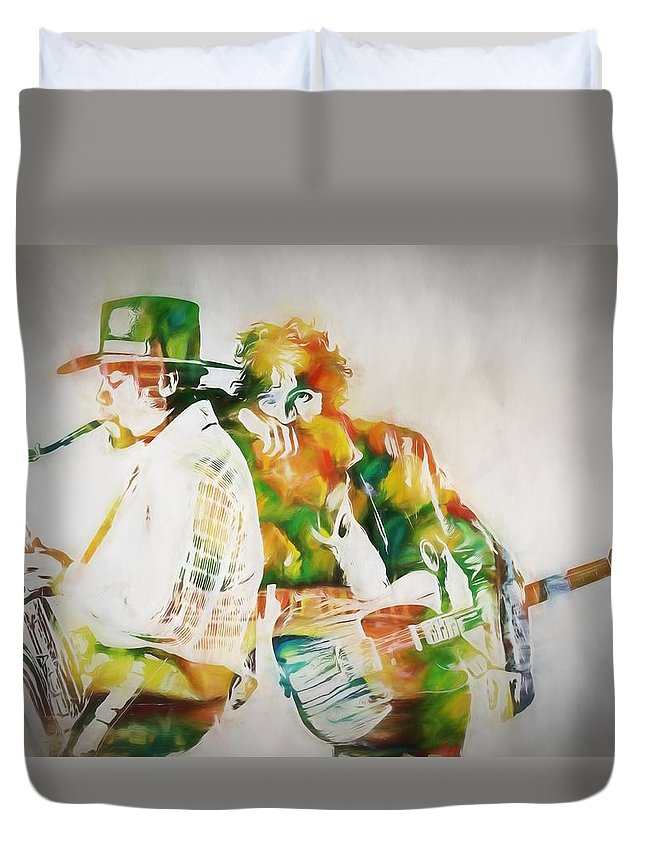 Bruce And The Big Man Duvet Cover featuring the painting Bruce And The Big Man by Dan Sproul